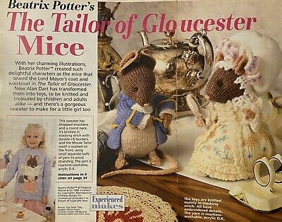 Alan Dart Beatrix Potter Tailor Of Gloucester & Lady Mouse Toys Knitting Pattern • 25£