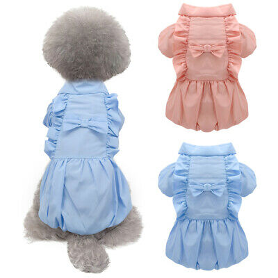 Pet Dog Dresses For Small Dogs Girls Birthday/Wedding Warm Outfit Clothes Yorkie • 6.52£