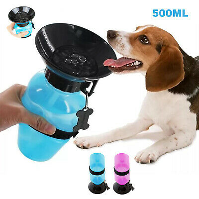 Portable 500ml Dog Cat Water Bottle Pet Dispenser Travel Feeder Bowl Outdoor UK • 4.29£