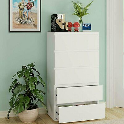 £69.99 • Buy Chest Of Drawers White Bedroom Furniture Hallway Tall Wide Storage 5 Drawer