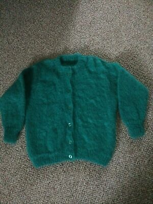 """Womens Hand Knitted Green Mohair Cardigan Chest 42"""" • 10£"""