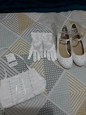 Holy Communion Dress Shoes Veil Tiara Gloves And Bag  • 30£