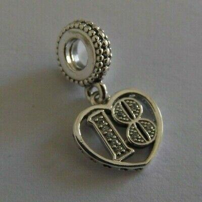 New Genuine Pandora Pave Happy 18th Birthday Charm S925 Ale With Free Pouch • 18.99£