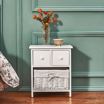Bedside Table Unit Cabinet Wicker Basket Nightstand 3 Drawer Storage Bathroom • 39.99£
