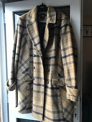 Size 18 From NEXT Immaculate Mustard Check Wool Blend Coat • 3.70£
