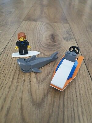 Lego Grey Shark Minifigure With Surfer And Small Boat • 3.99£