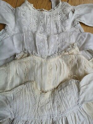 4 Vintage Antique Baby Christening Gown Robes  Cotton Repurposing  • 14.99£