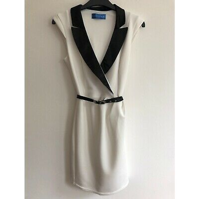 White Dress With Black Collar - New - Size 8  • 8£