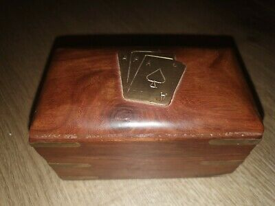 Wooden Two Pack Playing Card Case Box With 2 Packs Of Cards. • 2.60£