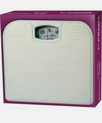 Mechanical Bathroom Scales Dial Weighing Scale Body Weight White 130kg Weighting • 14.99£