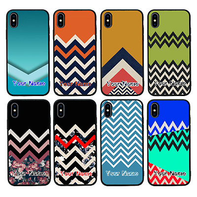 CHEVRON BLOCK Personalised Glass Back Case For IPhone 6 6s 7 8 PLUS X XS MAX XR • 5.99£