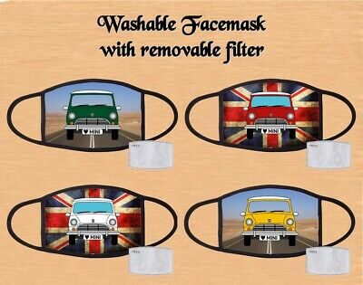 Mini Cooper Car Design Flag Face Mask White Red Blue Green Yellow • 7.49£