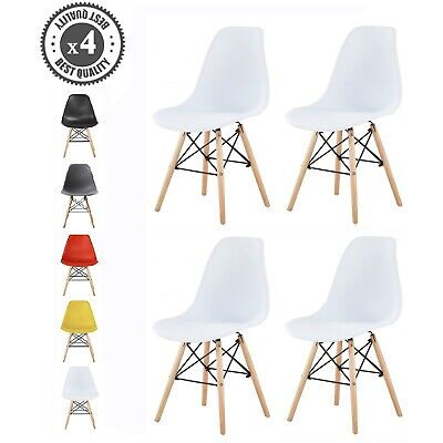 £59.99 • Buy 4x Dining Chairs Modern Design Retro Lounge Plastic Chairs Office Chairs, LA