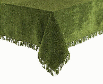 Green Traditional 100% Pure Cotton Thick Luxury Chenille Fringed Tablecloth • 34.99£