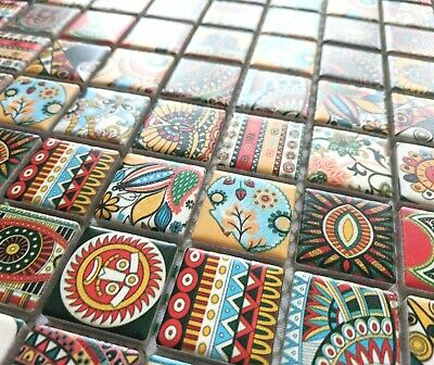 Tribal Small Square Multi Colour Ceramic Mosaic Tiles Moroccan Geometric Ethnic • 8.98£