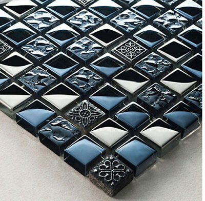 New Black Ancient Pattern & Silver Chrome Squares Mosaic Wall Tiles 8mm Rrp £16 • 7.98£
