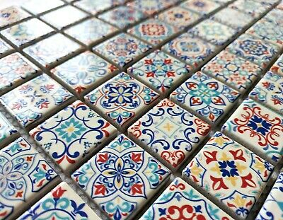 Classic Moroccan Multi Colour Ceramic Square Mosaic Tiles 6mm Turkish Geometric • 8.98£