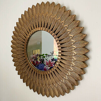 £37.99 • Buy Large Vintage Gold Feathered Wood Frame Home Decorative Round Glass Wall Mirror