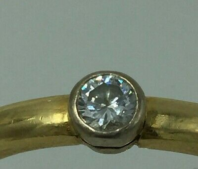 £425 • Buy 18 Ct Yellow Gold Diamond Solitaire Ring Size N Single Stone 0.2ct