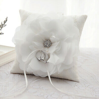 Stock Ivory Lace Ring Pillow Wedding Ring Bearer Cushion Engagement Party New • 5.99£