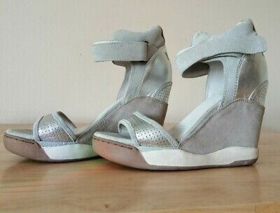 Fabulous Hardly Worn Ash Silver Grey Wedge Ankle Strap Sandals 6 Vgc • 24.95£