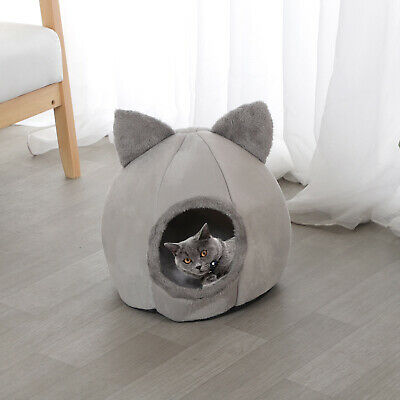 £8.39 • Buy Cat Pet Dog Warm House Cave Beds For Indoor Cats Cozy Wool Igloo Nest Kennel M/L