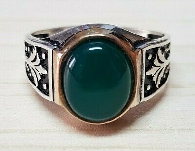 £56.79 • Buy Vintage 925 Sterling Silver Ring Green Agate Aqeeq Stone Men Jewelry Size 12