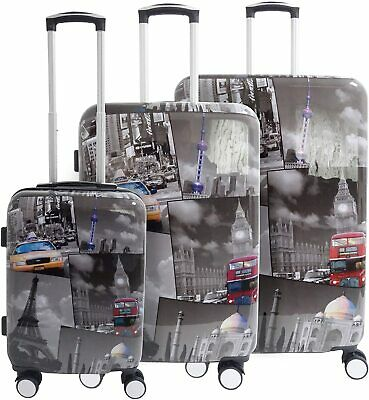 Hard Shell 4 Wheel Luggage Suitcase TSA Lock Hand Cabin Medium Large Hold Set • 27.99£
