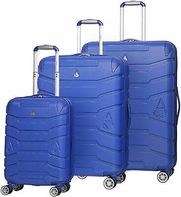 Aerolite Hard Shell 4 Wheels Suitcase Luggage Cabin Hold Small Medium Large Blue • 23.99£