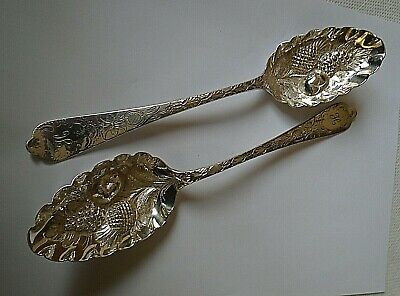 Pair Victorian Silver Plated Berry Spoons • 10£