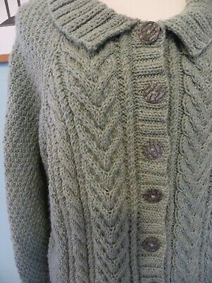 Stunning Hand Knitted Duck Egg Blue Green Grey Aran Cable Wool Cardigan 18/20/22 • 55£