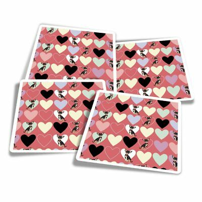 £3.49 • Buy 4x Square Stickers 10 Cm - Love Hearts Chihuahua Animals Pets  #8741
