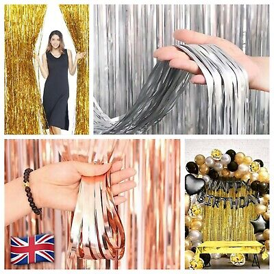 £2.90 • Buy 2M Foil Fringe Tinsel Shimmer Curtain Birthday Party Wedding Photo Background