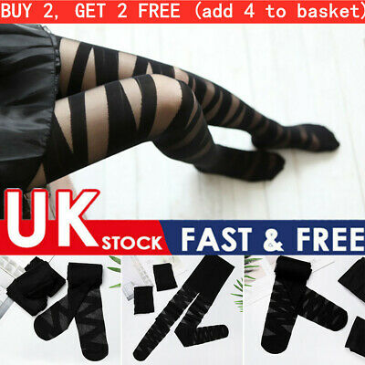Goth Rocker Women Lingerie Yoga Tights Stockings Cross Bandage Thigh Stockings~ • 3.79£