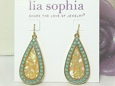 $ CDN14.33 • Buy Beautiful Lia Sophia  AWAKEN  Statement Dangle Earrings, Genuine Abalone, NWT