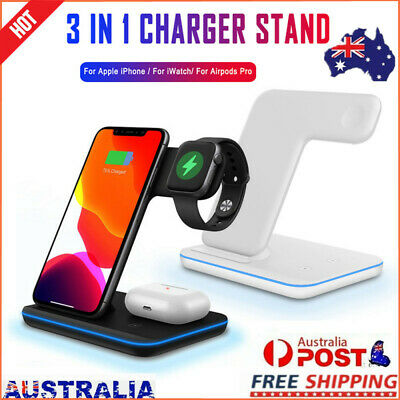 AU45.56 • Buy 15W Wireless Charger Stand Qi Fast Charging Dock For Airpods IPhone IWatch 3 In1
