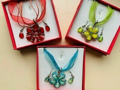 Organza Ribbon & Waxed Cord Necklace Pendant & Earing Set - Gift Boxed • 4.65£