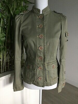 $24.99 • Buy Womens MARC JACOBS Green Cotton Military Cargo Pockets Stand Up Collar Jacket 2