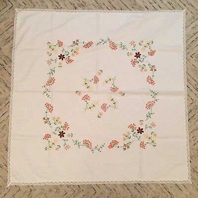 Vintage Tablecloth Hand Embroidered Lace Edged Floral 42  X 4 2  Linen Cotton • 9.99£