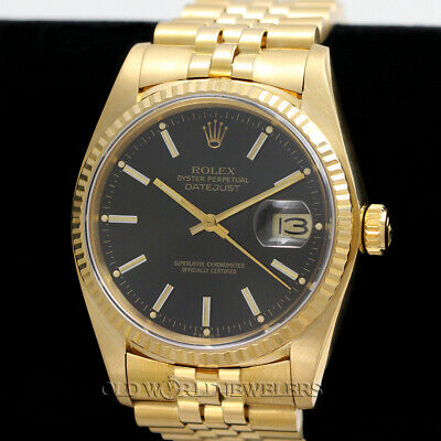$ CDN17084.24 • Buy Rolex Vintage Datejust Ref 16018 Black Dial 18K Gold W/Box Papers Circa 1982
