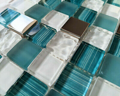 £7.98 • Buy Teal Green White Humbug Stripe Textured 3d Glass Chrome Square Mosaic Wall Tiles