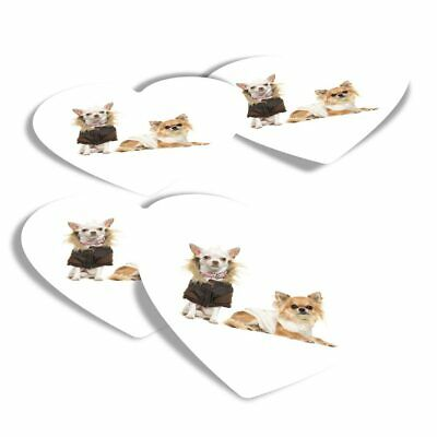 £2.99 • Buy 4x Heart Stickers - Chihuahua Dog Puppy Group  #8131-2