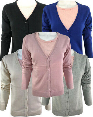 Ladies Cardigan Summer Womens Long Sleeve Knitted Button Thin UK Size 8-16