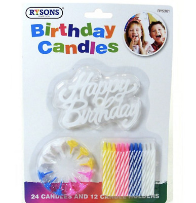 £2.99 • Buy 24 Birthday Candle Cake Candles & Holders Birthday Party Cake Topper Event Fun