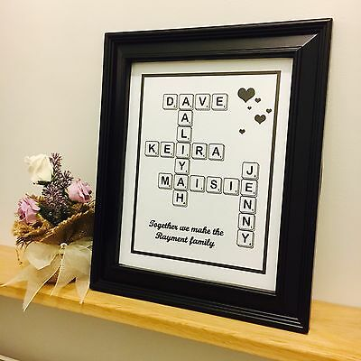 Personalised Family Scrabble Picture • 4.99£