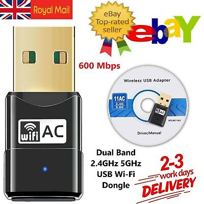 WiFi Dongle Wireless USB Dual Band Adapter 600 Mbps 802.11 AC 2.4-5ghz Laptop PC • 7.99£