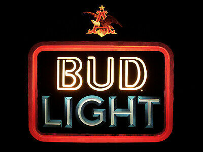 $ CDN123.73 • Buy ⭐️ Vintage BUD LIGHT Neon Look LIGHTED Beer Sign Bar Ad BUDWEISER Rare Plastic⭐️