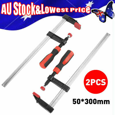 AU15.89 • Buy 2X 50*300mm Heavy Duty Woodworking F Clamps Bar Clips Quick Slide DIY Hand Tool