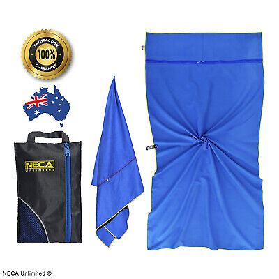 AU28.99 • Buy Beach Gym Travel Towel - 160x80cm - Sand Free - 2 Zipper Pockets - Quick Dry