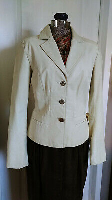 $ CDN45 • Buy DANIER Womens Ivory Fitted Leather Jacket Coat SZ Small